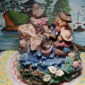 Vintage Ceramic forest with animalswater fountain